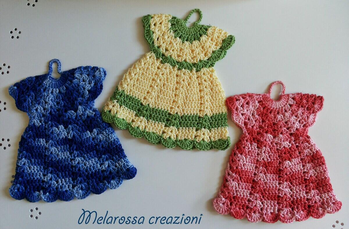 Küche-Topflappen häkeln Baumwolle waschbar Kleid. Home