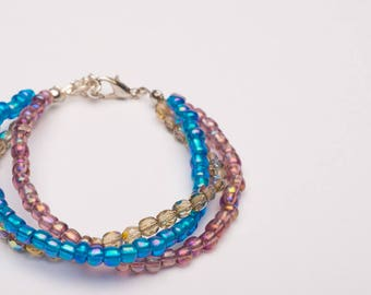 Galaxy Three Strand Glass Bead Bracelet