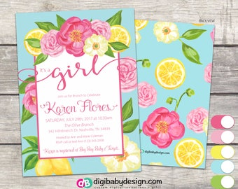 Its a Girl Baby Shower Invitation, Floral, Brunch, Blue Pink Yellow Lemon Rose Summer Fun, PDF JPG digital files