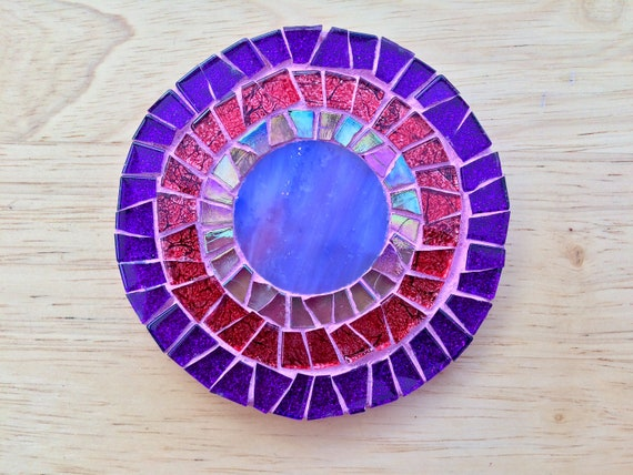 Handmade glass round red and purple mosaic coaster Unique gift idea Living room decor Gift for her