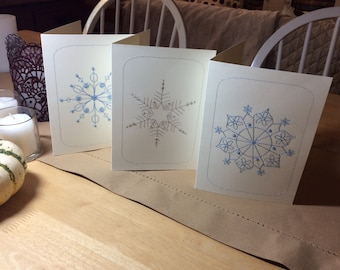 Handmade Embroidered Holiday Snowflake Cards, Set of 3