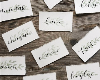 Watercolor Greenery + Calligraphy Name Cards