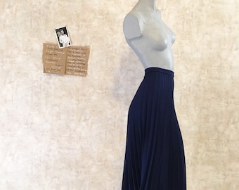 Vintage 70s Navy Pleated Skirt  small extra small