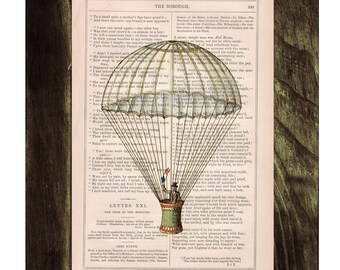 Book print Hot air Balloon classic style Print on Vintage Book - mixed media art TVH046