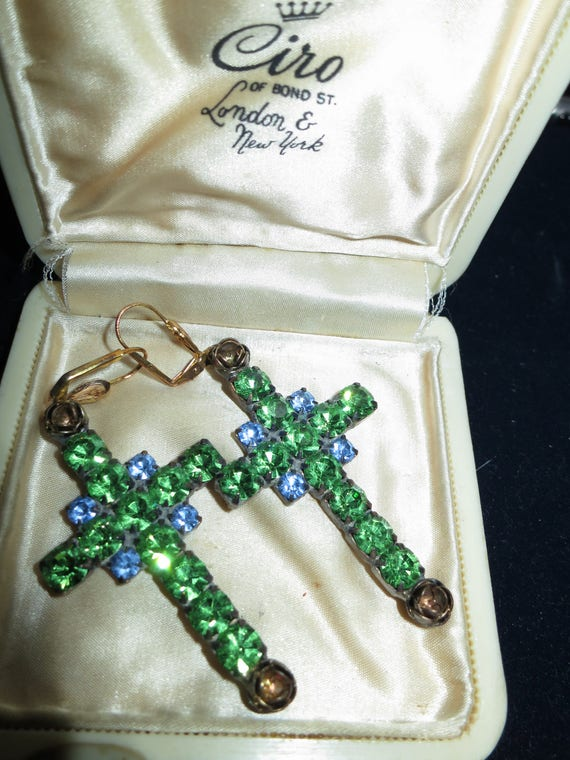 Beautiful Czech  vintage green and blue glass Cross dropper  earrings