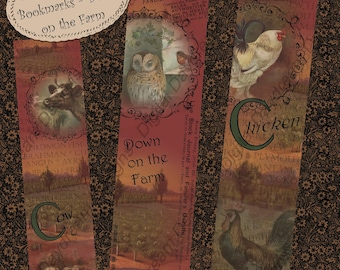 Printable Bookmarks Instant Download Digital Printable Collage Sheet - Down on the Farm, 1.5x 6 inch