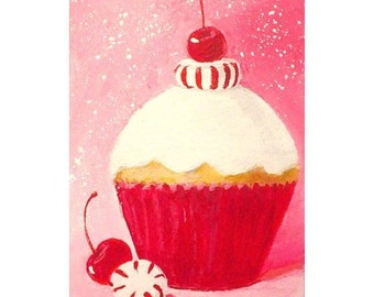 Original Cupcake Painting - PEPPERMINT CANDY - ACEO Mini Painting - Small Art Format