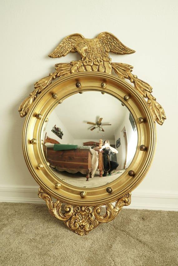 Good Antique Federal Bullseye Eagle Convex Wall Mirror Solid Wood