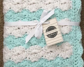 Made to Order ~ Ready in 2-3 Weeks ~ Mint and White Crochet Baby Blanket, White Crochet Baby Blanket, Crochet Baby Blanket, Handmade Blanket