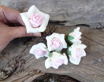 White and Pink Rose Wedding Hair Pins, Bridal Hair Pins, Flower Girl Hair Accessories, Bridesmaid Hair, Garden Wedding, Woodland - Set of 6