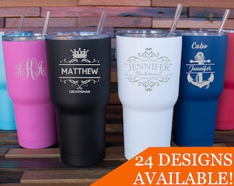 Personalized Tumbler, Insulated Tumbler, Engraved Cup, Custom Tumbler Cup, Tumbler with Straw, Monogram Tumbler, Rambler, 30oz or 20oz Mug
