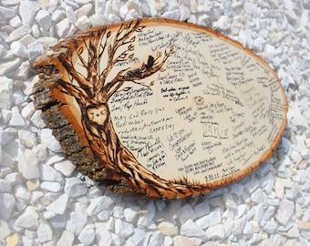 Original Design: Wood slice rustic theme wedding guest books. Personalized