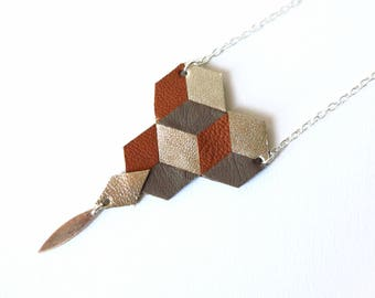 Long Necklace, Rhombuses, Geometric, Leather, Camel, Taupe, Gold