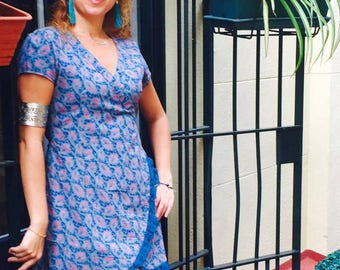 Cross Corduroy print dress, ruffle lace