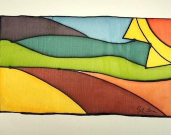 LIVRAISON gratuite paysage ensoleillé - peinture sur soie