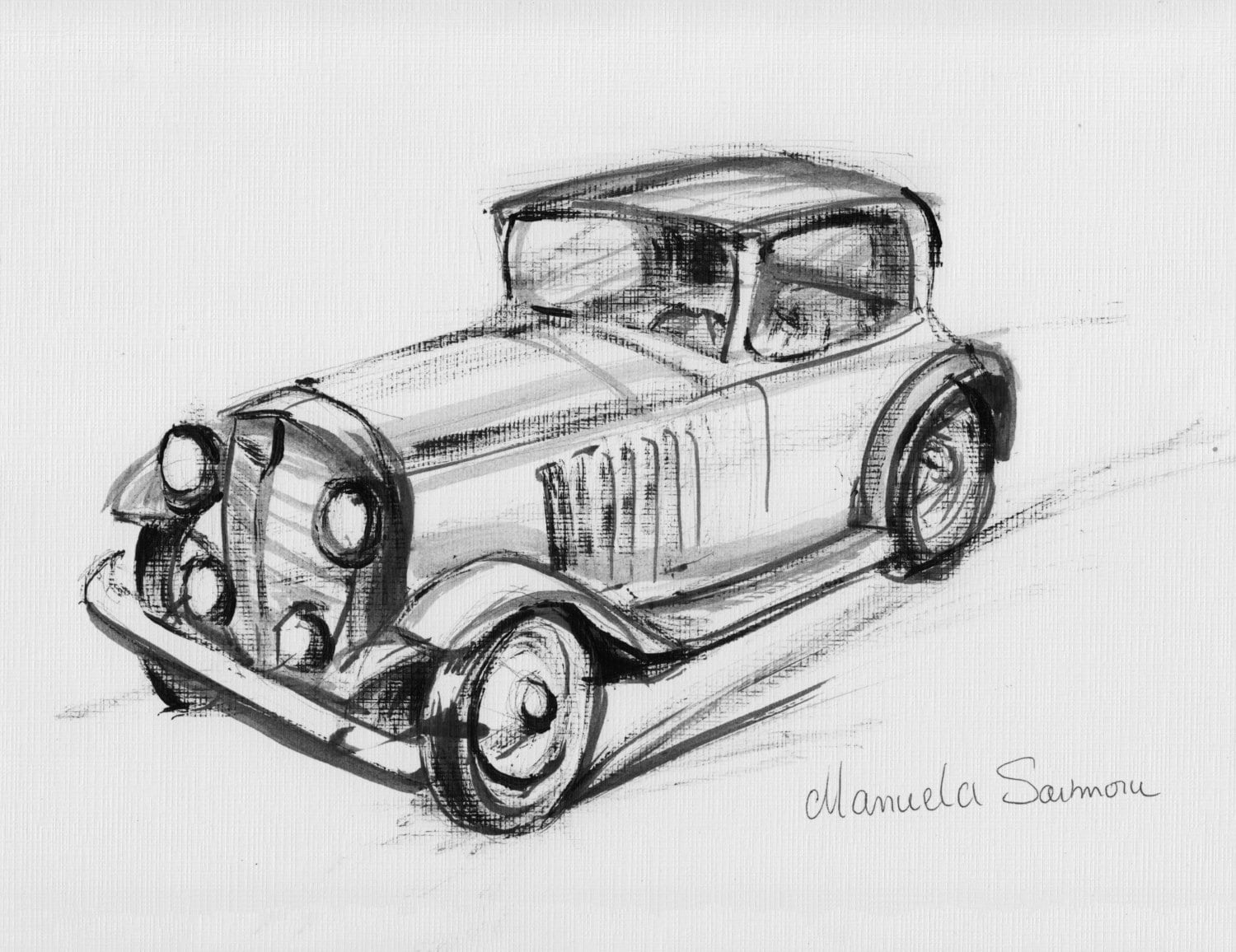 Classic Car Drawing Original Print Expensive Automobile Old