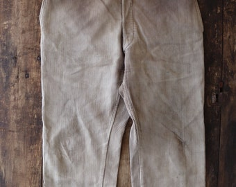"""Vintage 1940s 40s french brown grey pique corduroy hunting chore work trousers pants workwear 37"""" x 28"""" buckle back v notch brace buttons"""