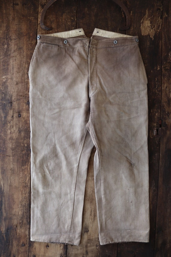 "Vintage 1940s 40s french brown grey pique corduroy hunting chore work trousers pants workwear 37"" x 28"" buckle back v notch brace buttons"
