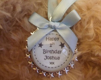 Custom made Baby Boy Blue Childs Birthday 1st, 2nd, 3rd,.... Pendant Keepsake Charm  Card Alternative
