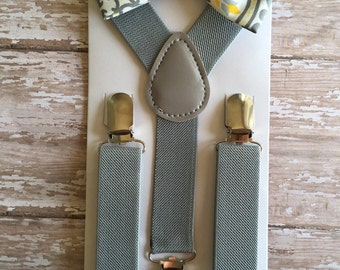 Bowtie & Suspender Set/ Yellow and Gray Bow tie/ Fleur De Li's Bowtie/ Yellow Bowtie/ Gray Bowtie/ Toodler Bowtie/ Gray Suspenders/ Easter
