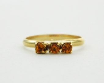 Orange Topaz Three Stone Midi Ring