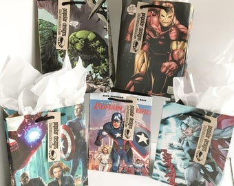 5 The Avengers Comic gift bags / Recycled comic book/ handmade superhero gift bag / recycled comic gift bag