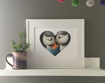 Puffin Snuggle / 8x10 Print / FREE SHIPPING