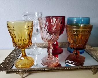 Vintage set of 6 goblets,  bo ho wedding
