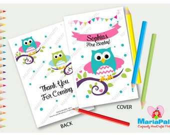 6 Owl Coloring Books, First Birthday Party , Personalized Party Favors, Forest Owl Coloring Book  A1294