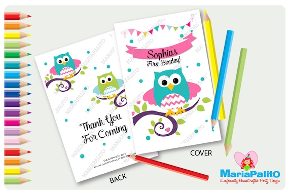 6 Owl Coloring Books First Birthday Party Personalized