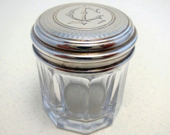 French Antique (c1890) Solid Sterling SILVER Top Lidded & Cut Glass Dressing Table Storage Bottle/Box/Jar/Pot/Container. Late 19th-century