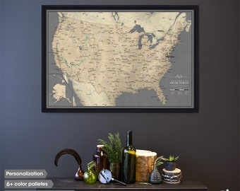 Classic USA travel map / Framed Push pin map / Custom travel map / Travel Pinboard / United States travels / Pin board for your travels