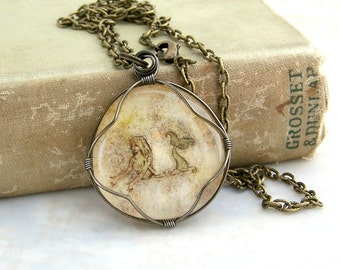 Mermaid Necklace - wire wrapped glass mermaid pendant - vintage map look - mermaid jewelry - Made to Order