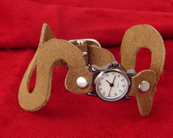 Snakes On A Watch - Tan Suede Watch