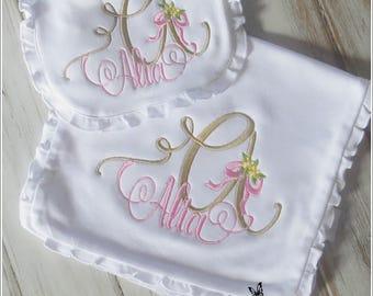 Baby Gift Set - Baby Bib - Burp Cloth - Baby Gift - Ruffled Bib - Baby Girl Gift - Baby Shower Gift - Monogrammed Baby Bib