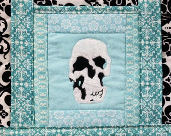 Quilted Skull Tote with Damask Motif