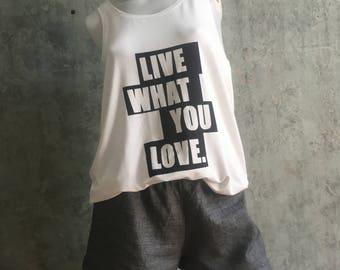 Tank, oversize, top with screen printing by Nichou