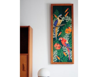 Vintage hand-sewn / Two parrots in the jungle / Solid wood frame /