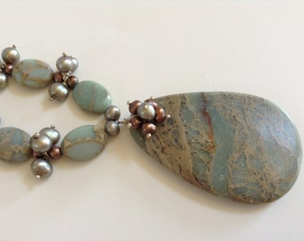 Aqua terra jasper necklace with pearls