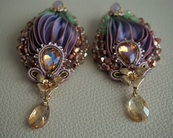 Purple soutache and shibori silk earrings