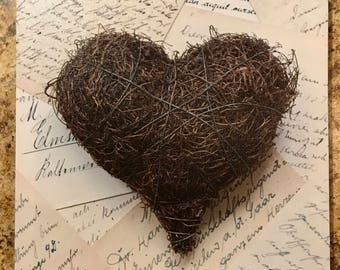Heart on Canvas, Twigs and Letters in European Languages