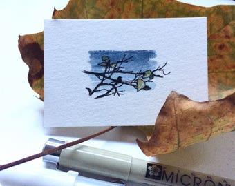 Inktober 26 / original tiny art piece / ink + watercolor sketch on watercolor paper