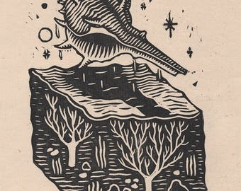 Conch - Linocut on paper - Kathleen Neeley