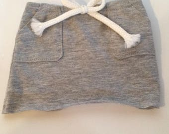 Gray Knit Skirt with Pockets
