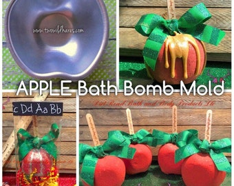 "APPLE Bath Bomb Mold, Metal, 3 3/16"" Across, 1  1/2"" deep, Teacher Gift Mold, Two Wild Hares"
