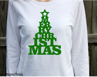 Merry Christmas Shirt, Women's Long Sleeve Shirt, Christmas Tree Shirt, Christmas PJ Shirt, Ladies Christmas Shirt