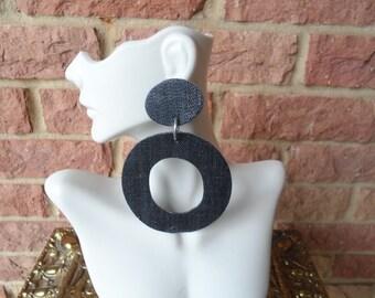 Upcycled denim blue jean dangle earrings