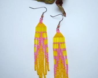 Native American Beaded Earrings, Pink Lemonade