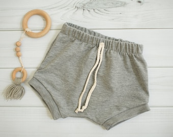 French Terry Baby Knit Shorts \\ Grey Baby Shorties \\ Baby Shorties \\ Toddler Shorts \\ Baby Shorts \\ Modern Baby Shorties