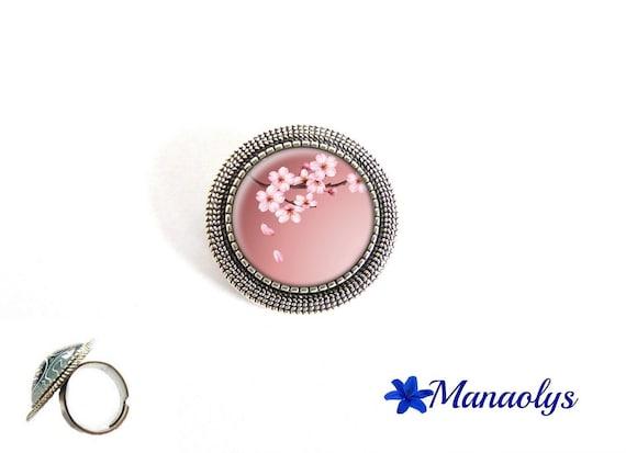ring adjustable round silver aged, Japan, Sakura, 206 glass cabochons flowers
